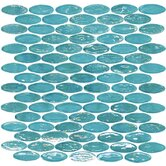 "Geo Glass Oval 12"" x 12""  Glass Mosaic in Blue"