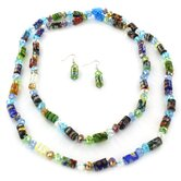 Glass and Acrylic Geometric Bead Necklace and Earring Set