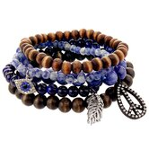 Earth Toned Beaded Peace, Evil Eye and Feather Stretch Strand Bracelet