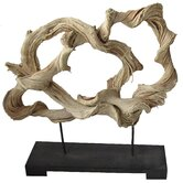 Rattan Free Form Statue on Wood Base
