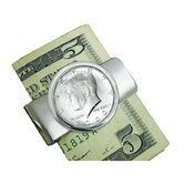 JFK Half Dollar Silvertone Money Clip