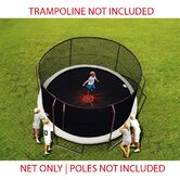 14 Ft. (Frame Size) Trampoline Net for Enclosure with 6 Straight-curved Poles with Top Ring  (Fits Bounce Pro/Sports Power) (Net and Attachments Only)