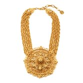 Bohemian Gold Filigree Necklace with Pendant