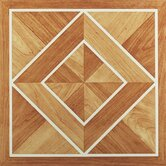 Nexus 12&quot; x 12&quot; Vinyl Tile in White Border Classic Inlaid Parquet