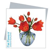 Flat Flowers Greetings in Tulip Blue Vase