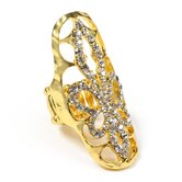 Gold Tone Brass Crystal Grizzly Ring