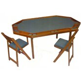 "72"" Deluxe Maple Folding Game Table Set"
