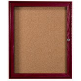 Enclosed Bulletin Board with Red Oak Frame