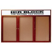 Enclosed Bulletin Board with Natural Pebble Grain Cork Back Panel