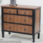 Wexford Four Drawer Plaid Chest in Distressed Black and Fruitwood