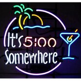 Bar and Game Room &quot;It's 5 O'Clock Somewhere&quot; Neon Sign