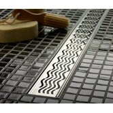 "34.9"" Wavy Bathroom Linear Shower Drain"