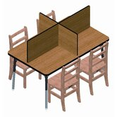 Rectangular Laminate Study Carrel Desk with 4 Carrels