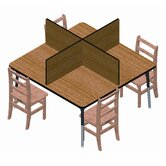 Square Laminate Study Carrel Desk with 4 Carrels
