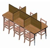 Rectangular Laminate Study Carrel Desk with 6 Carrels
