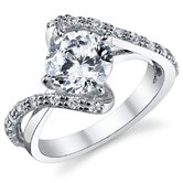 Sterling Silver Round Cubic Zirconia 925 Wedding Engegement Ring