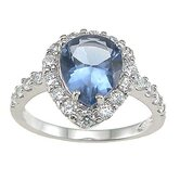 .925 Sterling Silver Pear Cut Topaz Anniversary Ring