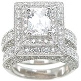 .925 Sterling Silver Emerald Cut Cubic Zirconia Wedding Ring Set