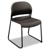 Gueststacker Chair, Charcoal with Black Finish Legs, Four per Carton