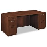Park Avenue Laminate Bow Front Executive Desk with Double Pedestal