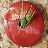 Discus Wall Vase in Red