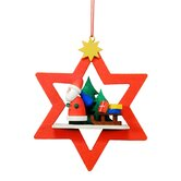 Santa in Red Star Ornament