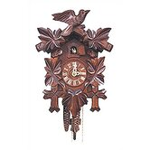 Cuckoo Clock with Leaf Detail and Walnut Finish