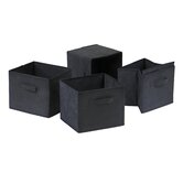 Capri Foldable Fabric Storage Baskets in Black (Set of 4)
