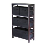 Capri Storage Shelf with 6 Foldable Black Fabric Baskets
