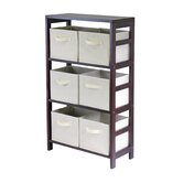 Capri Storage Shelf with 6 Foldable Beige Fabric Baskets