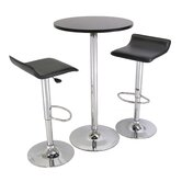"3-Piece 24"" Pub Table Set with Chrome Accents"
