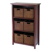 Milan Vertical Storage Shelf with Baskets in Walnut