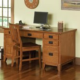 Arts and Crafts Pedestal Computer Desk with 2 Drawers on Computer Desk