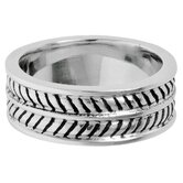Men's Stainless Steel Striped Band