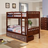 Deco Twin over Twin Bunk Bed with Built-In Ladder