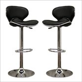 Baxton Studio Orion Faux Leather Barstool in Black (Set of 2)
