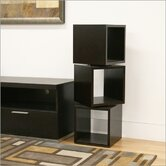Baxton Studio Judson Modern Rotating Cube Display Shelf in Dark Brown