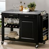 Baxton Studio Phoenix Modern Kitchen Island with Granite Top