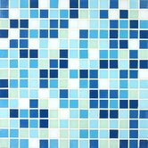 "Tesserae Blends 12-7/8"" x 12-7/8"" Tesserae Glass Tile in Pacific Lagoon"