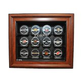 NHL Twelve Puck Cabinet Style Display Case in Brown