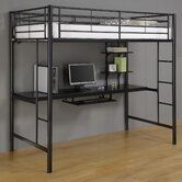 Twin Loft Bed and Workstation with Desk and Built-In Ladder