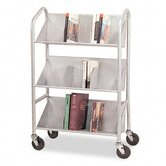 Sloped-Shelf Book Cart, Three Shelves, 26 x 16 x 41-1/2, Gray