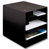 Stationery Organizer, 1-3/8&quot; Between Shelves, 9&quot;x11&quot;x9-5/8&quot;, Black