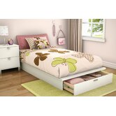 Twin 39&quot; Platform Bed with Drawer in Pure White