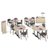 "Smart Tables: 24"" x 48"" Half Circle Kit with Lectern and Conference Credenza"