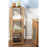 Four Tier Vertical Bamboo Shelf in Natural