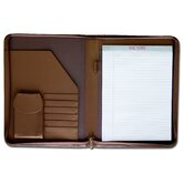 Leather Portfolios Top-Grain Deluxe Zip-Around Padfolio in Chocolate
