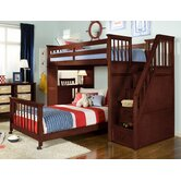 School House L-Shaped Bunk Bed with Desk and Stairs