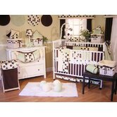 Minky Lemon Chocolate Polka Dot 4 Piece Crib Bedding Set