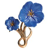 Blue Flax Flower Gold Brooch
